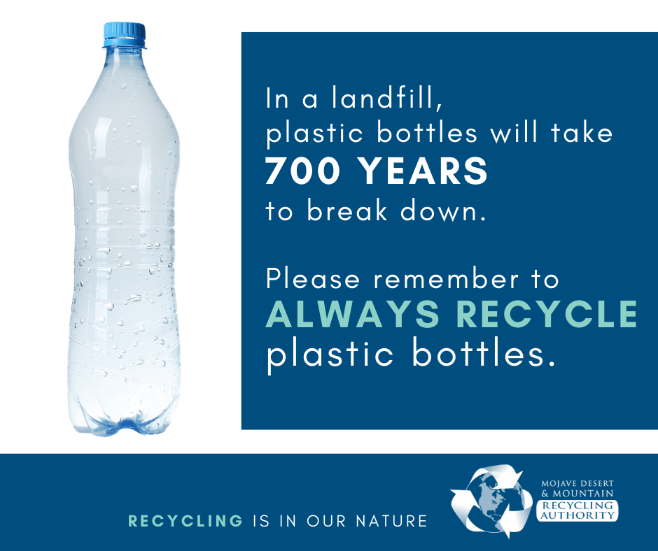 In a landfill, plastic bottles will take 700 years to break down.