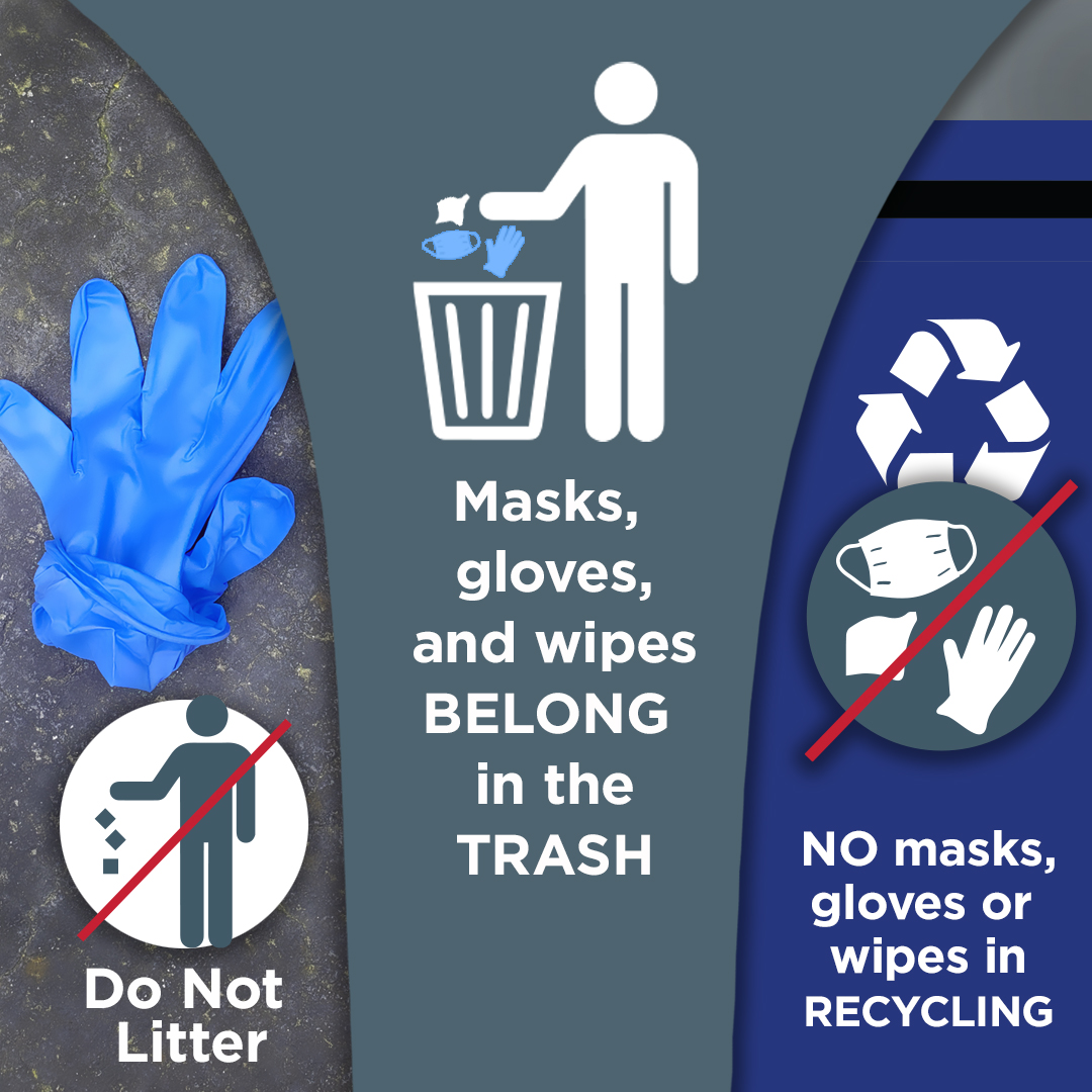 Mask and Gloves Go in Trash